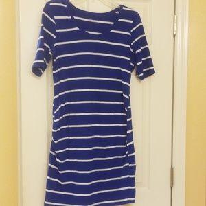 Blue and white stripe maternity dress